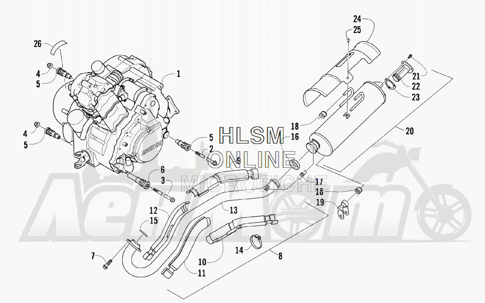 Запчасти для Квадроцикла Arctic Cat 2011 650 GREEN [A2011ICS4BUSG] Раздел: ENGINE AND EXHAUST | двигатель и выпуск