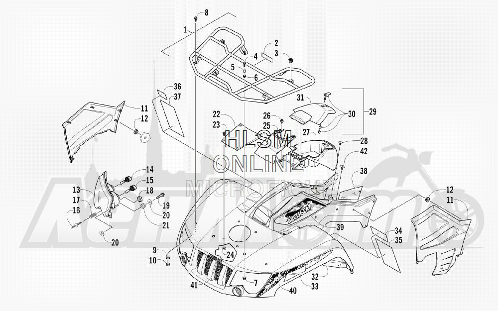 Запчасти для Квадроцикла Arctic Cat 2011 650 GREEN INTERNATIONAL [A2011ICS4BOSG] Раздел: FRONT RACK_ BODY PANEL_ AND HEADLIGHT ASSEMBLIES | перед багажник корпус панель и передняя фара в сборе