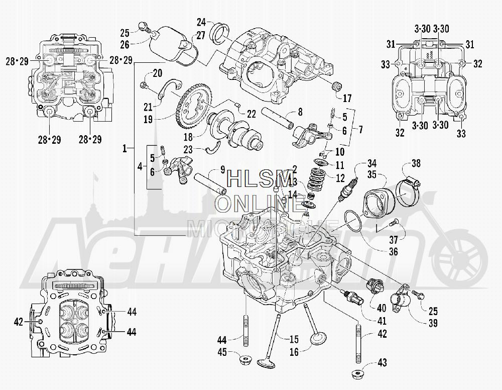 Запчасти для Квадроцикла Arctic Cat 2011 650 GREEN INTERNATIONAL [A2011ICS4BOSG] Раздел: CYLINDER HEAD AND CAMSHAFT/VALVE  ASSEMBLY | головка цилиндра и распредвал/клапан в сборе