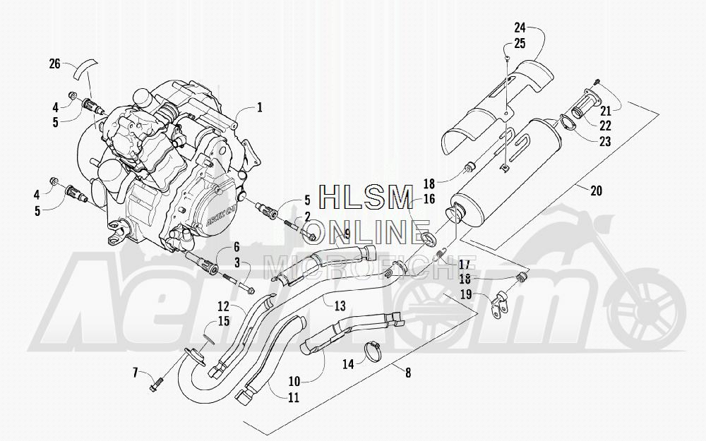 Запчасти для Квадроцикла Arctic Cat 2011 650 GREEN INTERNATIONAL [A2011ICS4BOSG] Раздел: ENGINE AND EXHAUST   двигатель и выпуск