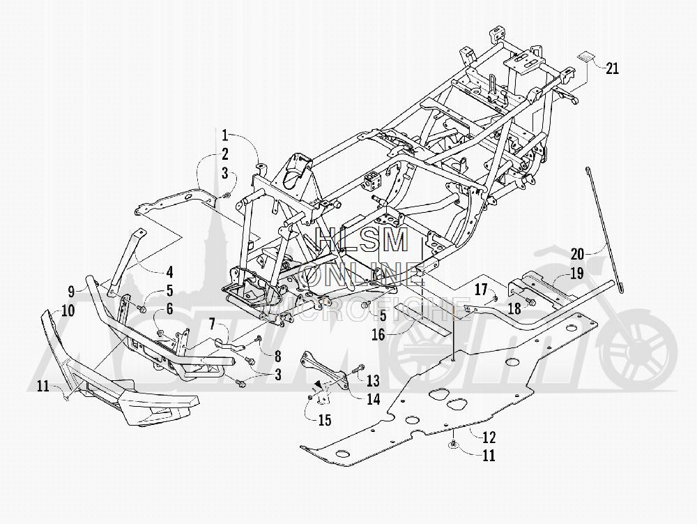 Запчасти для Квадроцикла Arctic Cat 2011 650 GREEN INTERNATIONAL [A2011ICS4BOSG] Раздел: FRAME AND RELATED PARTS | рама и связанные детали