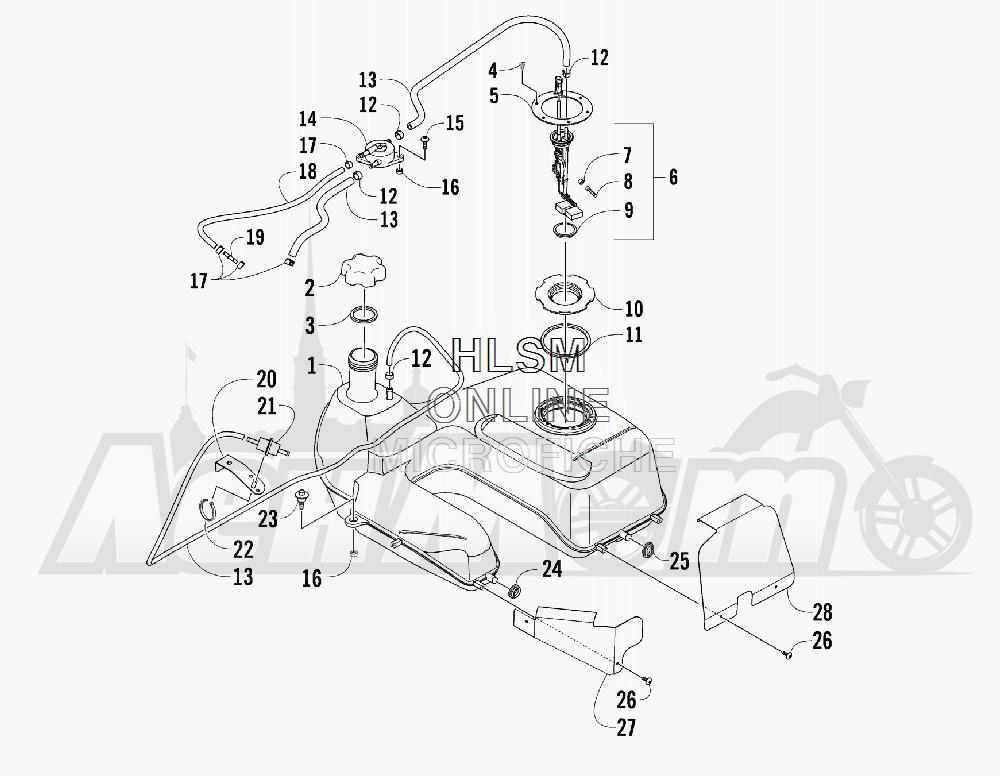 Запчасти для Квадроцикла Arctic Cat 2011 650 GREEN INTERNATIONAL [A2011ICS4BOSG] Раздел: GAS TANK ASSEMBLY | топливный бак в сборе