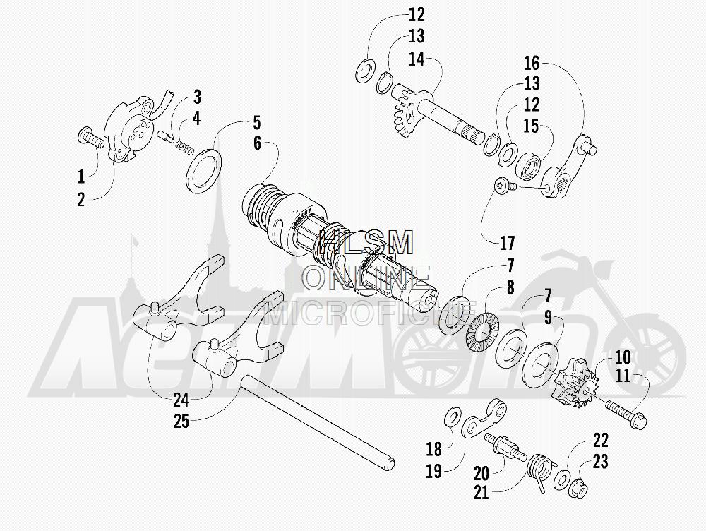 Запчасти для Квадроцикла Arctic Cat 2011 700 CAT GREEN [A2011IBT4EUSZ] Раздел: GEAR SHIFTING ASSEMBLY | шестерня переключение в сборе