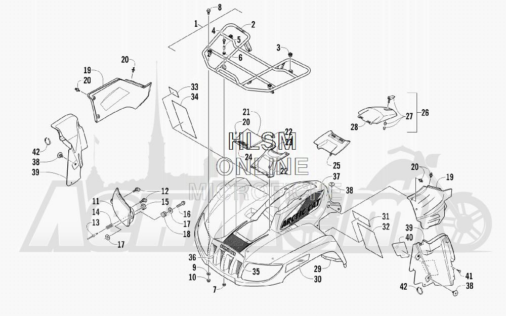 Запчасти для Квадроцикла Arctic Cat 2011 700 DIESEL GREEN [A2011ITBT4DUSG] Раздел: FRONT RACK_ BODY PANEL_ AND HEADLIGHT ASSEMBLIES | перед багажник корпус панель и передняя фара в сборе