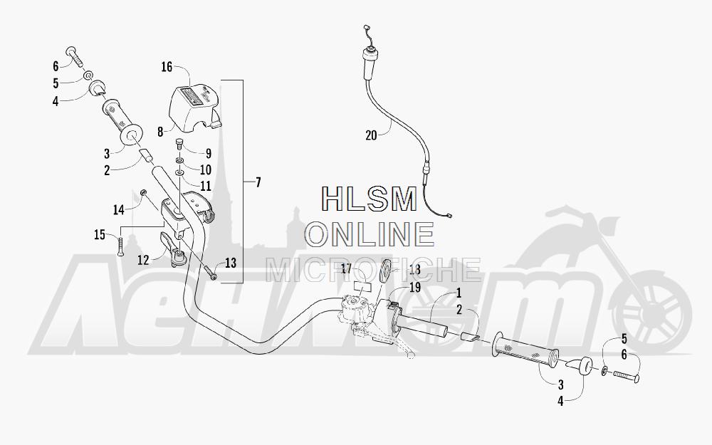 Запчасти для Квадроцикла Arctic Cat 2011 700 DIESEL GREEN [A2011ITBT4DUSG] Раздел: HANDLEBAR ASSEMBLY | руль в сборе