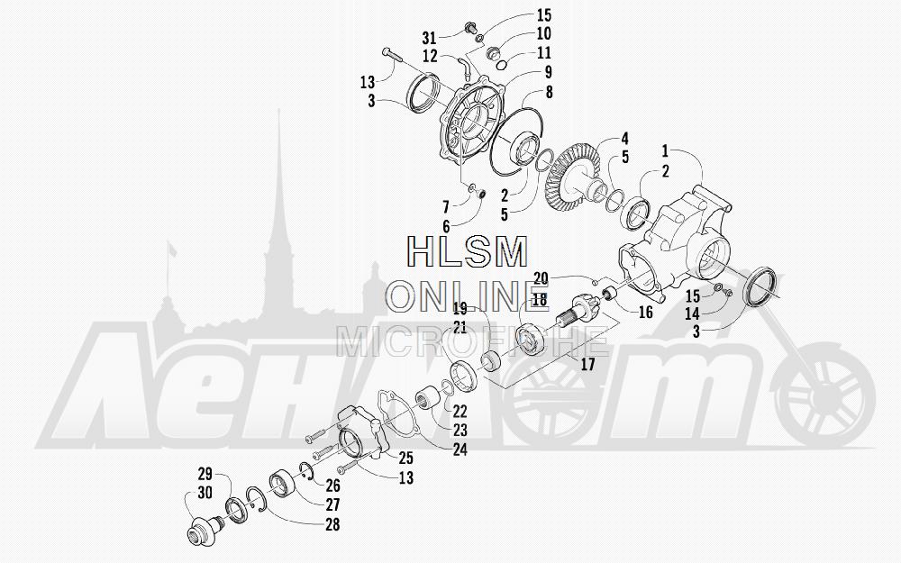 Запчасти для Квадроцикла Arctic Cat 2011 700 DIESEL GREEN INTERNATIONAL [A2011ITBT4DOSG] Раздел: REAR DRIVE GEARCASE ASSEMBLY | зад ведущий редуктор в сборе