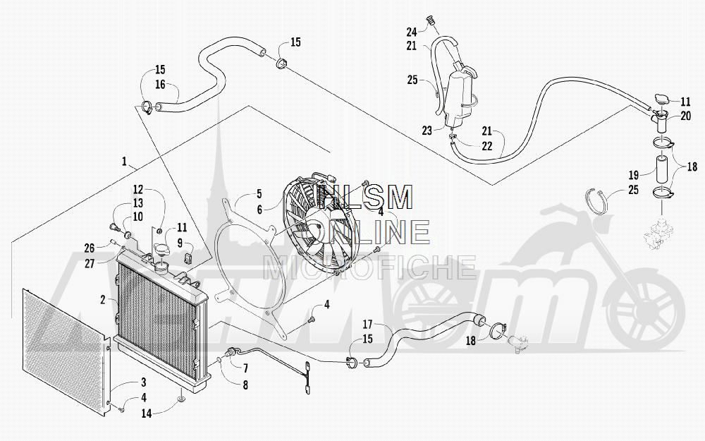 Запчасти для Квадроцикла Arctic Cat 2011 700 DIESEL GREEN INTERNATIONAL [A2011ITBT4DOSG] Раздел: COOLING ASSEMBLY | охлаждение в сборе