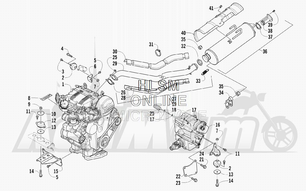 Запчасти для Квадроцикла Arctic Cat 2011 700 DIESEL GREEN INTERNATIONAL [A2011ITBT4DOSG] Раздел: ENGINE AND EXHAUST | двигатель и выпуск