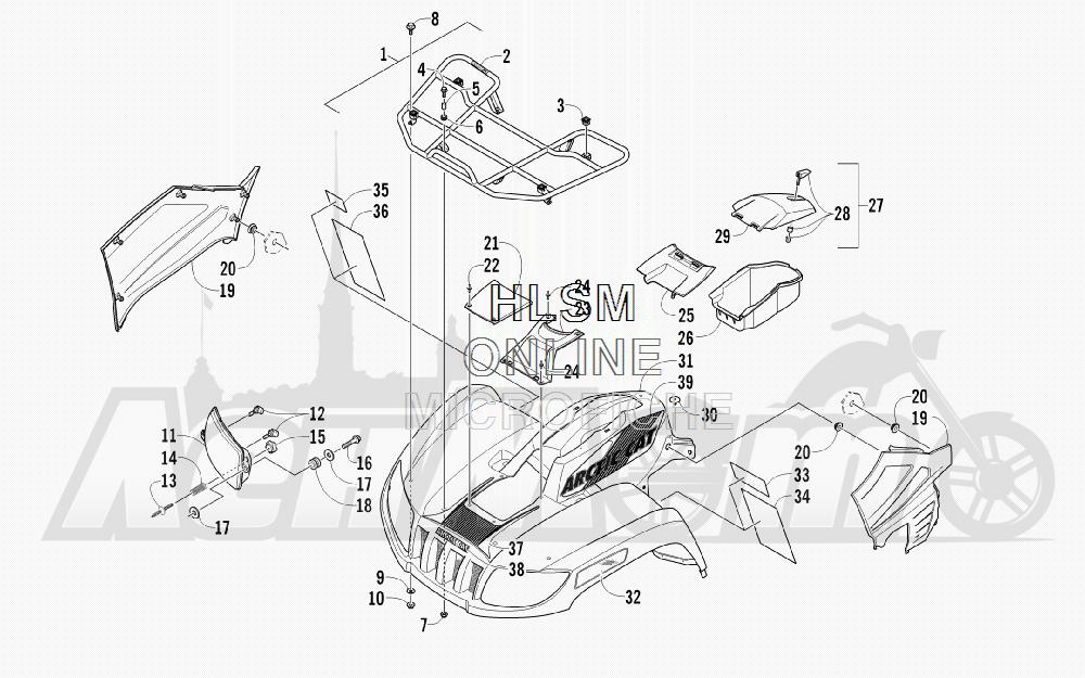Запчасти для Квадроцикла Arctic Cat 2011 700 CRUISER PS METALLIC GRAY [A2011TCT1PUSS] Раздел: FRONT RACK_ BODY PANEL_ AND HEADLIGHT ASSEMBLIES | перед багажник корпус панель и передняя фара в сборе