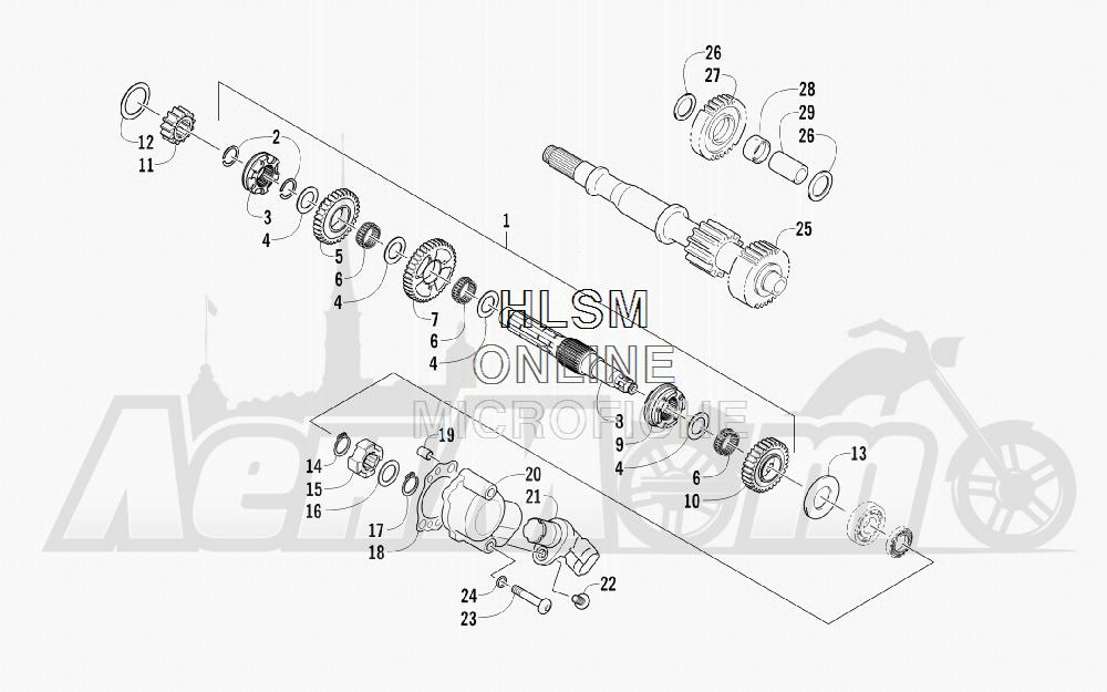 Запчасти для Квадроцикла Arctic Cat 2011 700 CRUISER PS METALLIC GRAY [A2011TCT1PUSS] Раздел: SECONDARY TRANSMISSION ASSEMBLY (ENGINE SERIAL NO. 0264070 AND UP) | вторичный трансмиссия в сборе (двигатель SERIAL NO. 0264070 и UP)