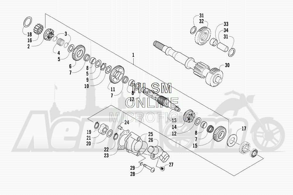 Запчасти для Квадроцикла Arctic Cat 2011 700 CRUISER PS METALLIC GRAY [A2011TCT1PUSS] Раздел: SECONDARY TRANSMISSION ASSEMBLY (UP TO ENGINE SERIAL NO. 0264069) | вторичный трансмиссия в сборе (UP на двигатель SERIAL NO. 0264069)