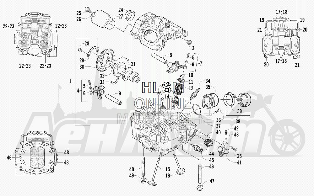 Запчасти для Квадроцикла Arctic Cat 2011 700 CRUISER PS METALLIC GRAY [A2011TCT1PUSS] Раздел: CYLINDER HEAD AND CAMSHAFT/VALVE  ASSEMBLY (ENGINE SERIAL NO. 0309070 AND UP)   головка цилиндра и распредвал/клапан в сборе (двигатель SERIAL NO. 0309070 и UP)