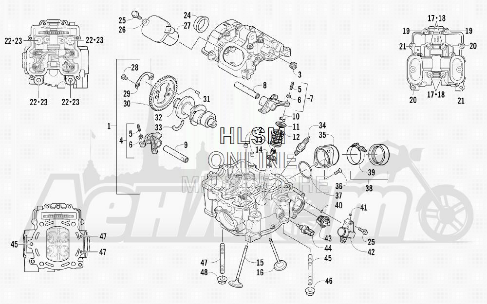 Запчасти для Квадроцикла Arctic Cat 2011 700 CRUISER PS METALLIC GRAY [A2011TCT1PUSS] Раздел: CYLINDER HEAD AND CAMSHAFT/VALVE  ASSEMBLY (UP TO ENGINE SERIAL NO. 039069) | головка цилиндра и распредвал/клапан в сборе (UP на двигатель SERIAL NO. 039069)