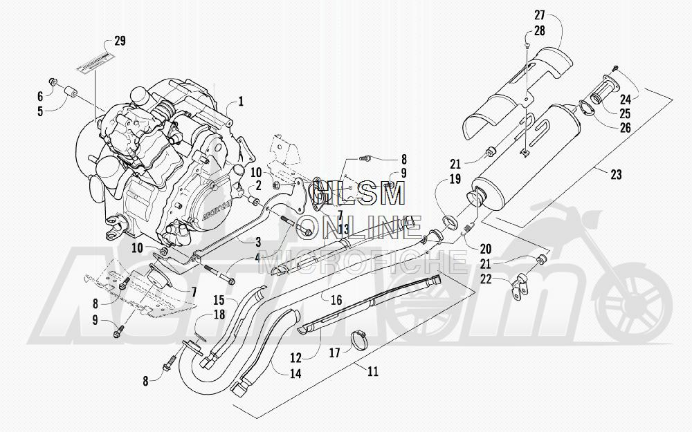 Запчасти для Квадроцикла Arctic Cat 2011 700 CRUISER PS METALLIC GRAY [A2011TCT1PUSS] Раздел: ENGINE AND EXHAUST | двигатель и выпуск