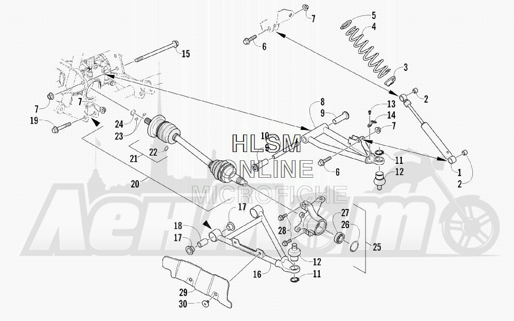 Запчасти для Квадроцикла Arctic Cat 2011 700 CRUISER PS METALLIC GRAY [A2011TCT1PUSS] Раздел: FRONT SUSPENSION ASSEMBLY | передняя подвеска в сборе