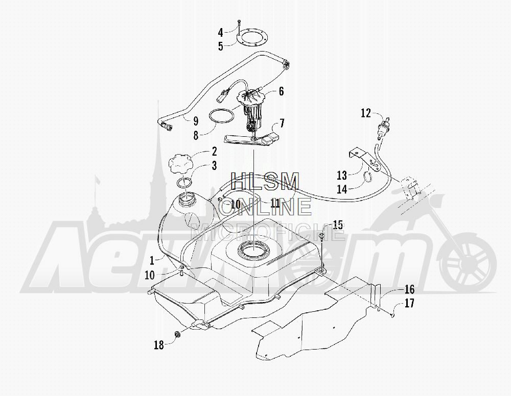 Запчасти для Квадроцикла Arctic Cat 2011 700 CRUISER PS METALLIC GRAY [A2011TCT1PUSS] Раздел: GAS TANK ASSEMBLY | топливный бак в сборе