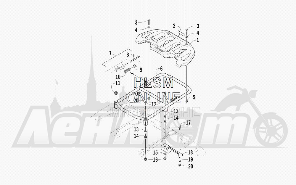 Запчасти для Квадроцикла Arctic Cat 2011 700 CRUISER PS METALLIC GRAY [A2011TCT1PUSS] Раздел: REAR RACK ASSEMBLY   зад багажник в сборе