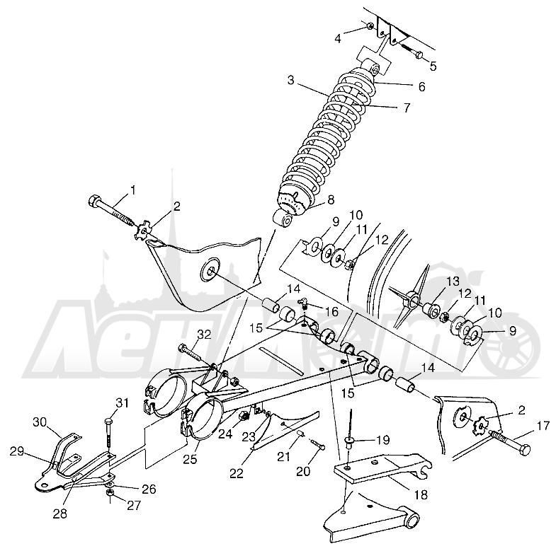 Запчасти для Квадроцикла Polaris 1997 NORWEGIAN MAGNUM 4X4 - N97AC42D Раздел: SWING ARM/SHOCK MOUNTING MAGNUM 4X4 W97AC42A, SWEDISH MAGNUM 4X4 S97AC42E A | маятник/амортизатор крепления MAGNUM 4X4 W97AC42A, SWEDISH MAGNUM 4X4 S97AC42E A