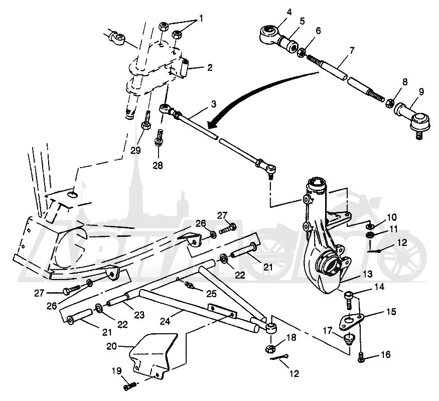 Запчасти для Квадроцикла Polaris 1997 SCRAMBER 400L - W97BC38C Раздел: A - ARM/STRUT MOUNTING SCRAMBLER 400L W97BC38C | A рычаг/стойка крепления SCRAMBLER 400L W97BC38C