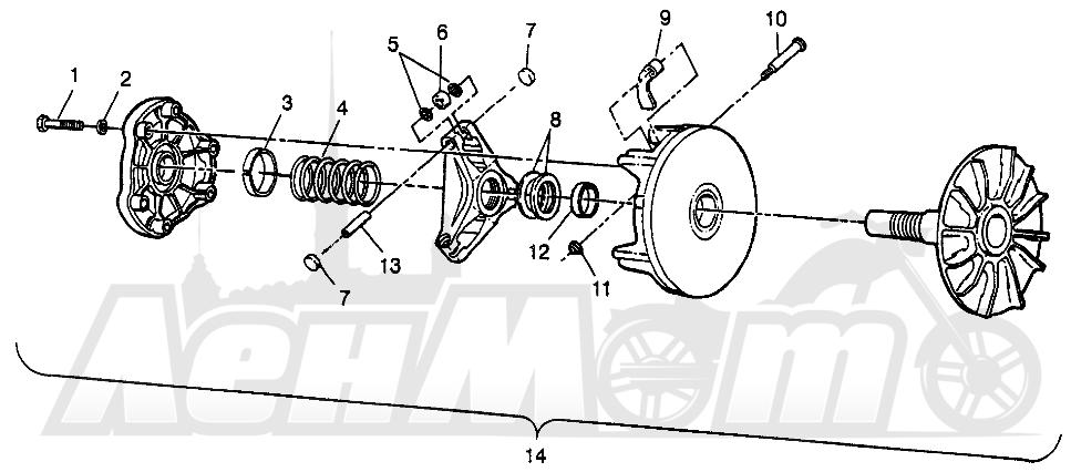 Запчасти для Квадроцикла Polaris 1997 SCRAMBER 400L - W97BC38C Раздел: DRIVE CLUTCH SCRAMBLER 400L W97BC38C | ведущий вариатор SCRAMBLER 400L W97BC38C