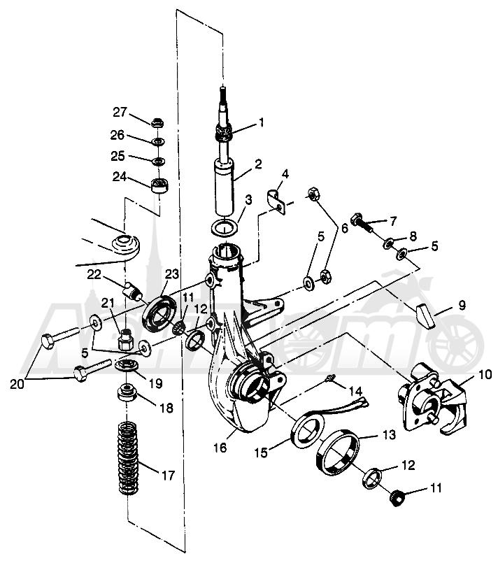 Запчасти для Квадроцикла Polaris 1997 SCRAMBER 400L - W97BC38C Раздел: FRONT STRUT SCRAMBLER 400L W97BC38C   перед стойка SCRAMBLER 400L W97BC38C