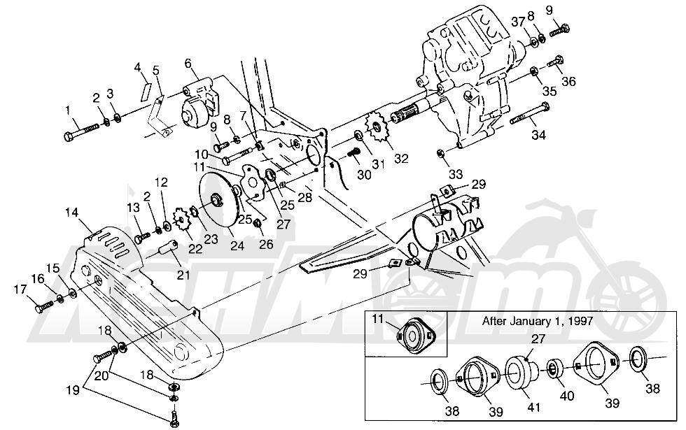 Запчасти для Квадроцикла Polaris 1997 SCRAMBER 400L - W97BC38C Раздел: GEARCASE/BRAKE AND CHAIN COVER MOUNTING SCRAMBLER 400L W97BC38C | коробка передач/тормоза и цепь крышка крепления SCRAMBLER 400L W97BC38C