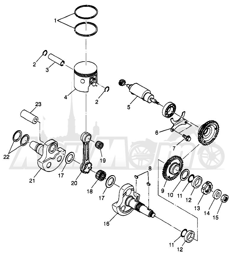 Запчасти для Квадроцикла Polaris 1997 SCRAMBER 400L - W97BC38C Раздел: PISTON AND CRANKSHAFT SCRAMBLER 400L W97BC38C | поршень и коленвал SCRAMBLER 400L W97BC38C