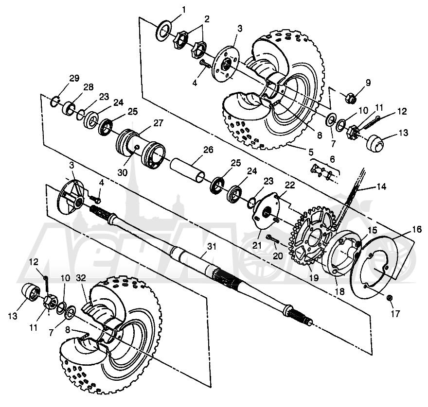 Запчасти для Квадроцикла Polaris 1997 SCRAMBER 400L - W97BC38C Раздел: REAR WHEEL DRIVE SCRAMBLER 400L W97BC38C | заднее колесо привод SCRAMBLER 400L W97BC38C