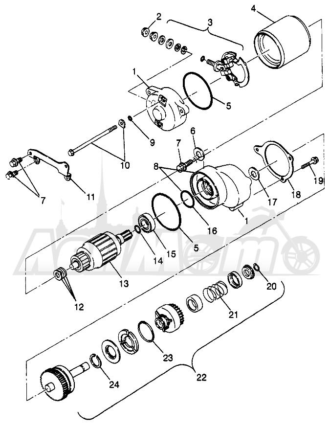 Запчасти для Квадроцикла Polaris 1997 SCRAMBER 400L - W97BC38C Раздел: STARTING MOTOR SCRAMBLER 400L W97BC38C   электростартер SCRAMBLER 400L W97BC38C