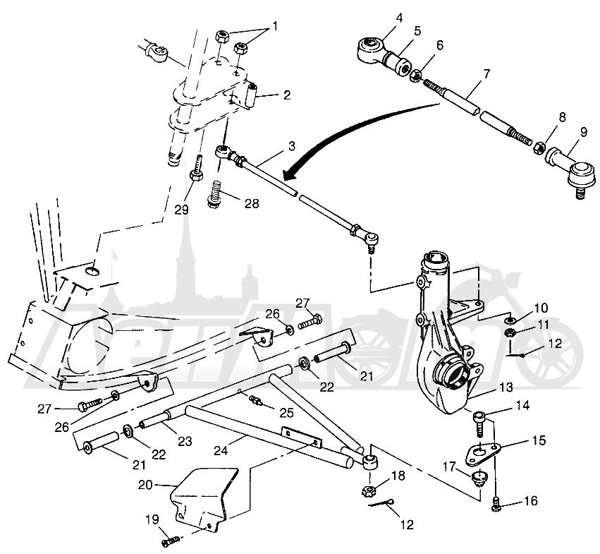 Запчасти для Квадроцикла Polaris 1997 SCRAMBLER 500 - W97BC50A Раздел: A - ARM/STRUT MOUNTING SCRAMBLER 500 W97BC50A   A рычаг/стойка крепления SCRAMBLER 500 W97BC50A