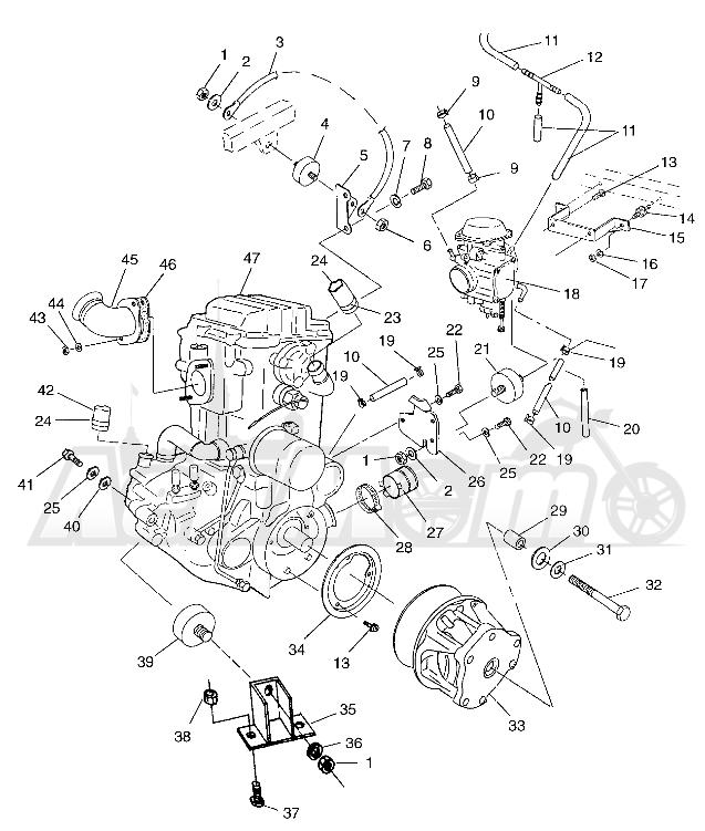 Запчасти для Квадроцикла Polaris 1997 SCRAMBLER 500 - W97BC50A Раздел: ENGINE MOUNTING SCRAMBLER 500 W97BC50A   двигатель крепления SCRAMBLER 500 W97BC50A