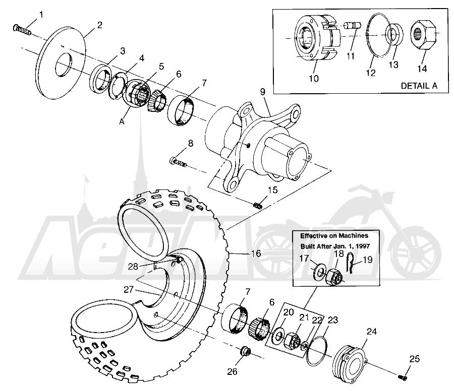 Запчасти для Квадроцикла Polaris 1997 SCRAMBLER 500 - W97BC50A Раздел: FRONT WHEEL SCRAMBLER 500 W97BC50A | переднее колесо SCRAMBLER 500 W97BC50A