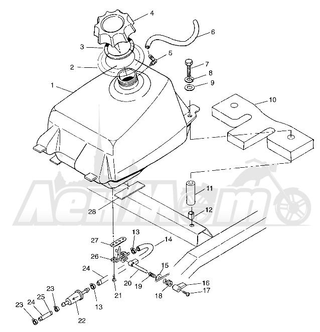 Запчасти для Квадроцикла Polaris 1997 SCRAMBLER 500 - W97BC50A Раздел: FUEL TANK SCRAMBLER 500 W97BC50A | топливный бак SCRAMBLER 500 W97BC50A