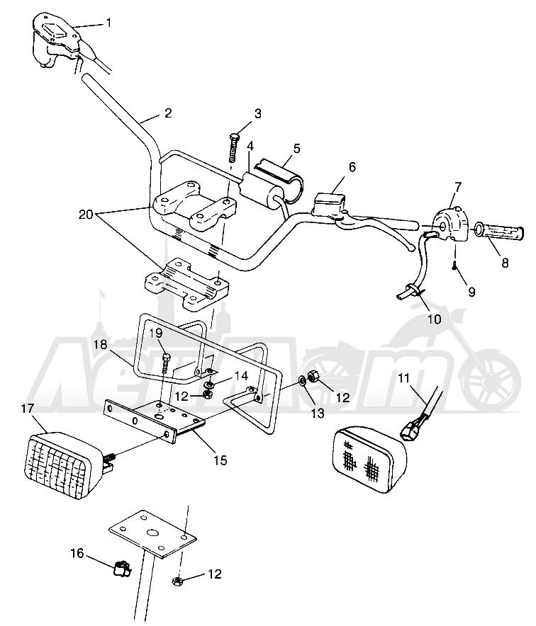Запчасти для Квадроцикла Polaris 1997 SCRAMBLER 500 - W97BC50A Раздел: HANDLEBAR/HEADLIGHT SCRAMBLER 500 W97BC50A | руль/передняя фара SCRAMBLER 500 W97BC50A