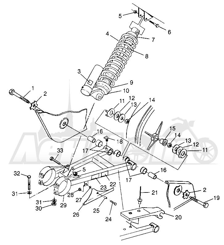 Запчасти для Квадроцикла Polaris 1997 SCRAMBLER 500 - W97BC50A Раздел: SWING ARM/SHOCK MOUNTING SCRAMBLER 500 W97BC50A | маятник/амортизатор крепления SCRAMBLER 500 W97BC50A