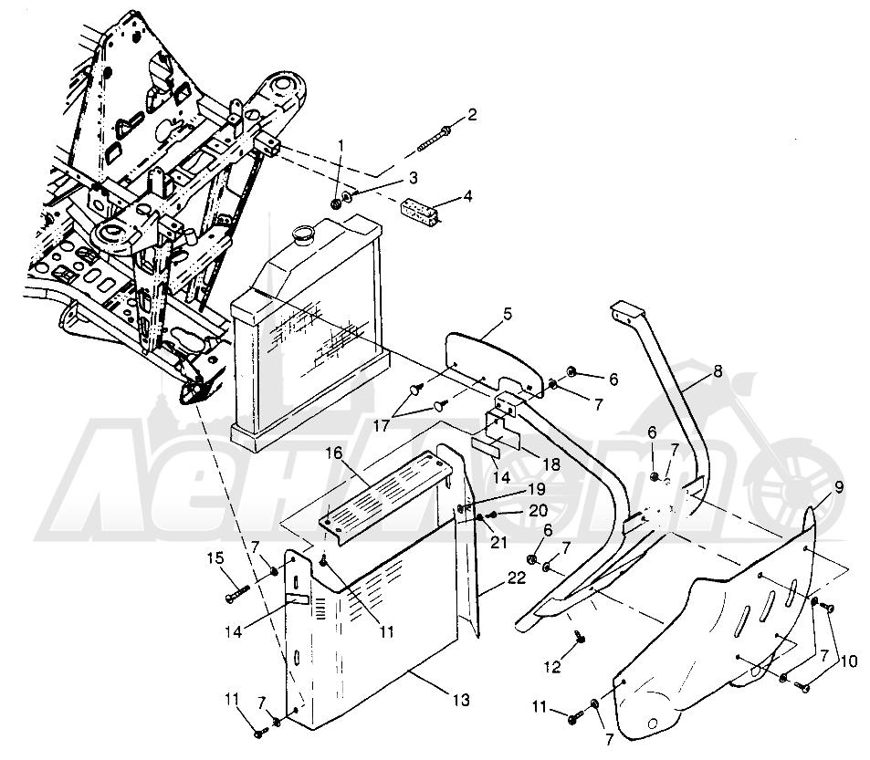 Запчасти для Квадроцикла Polaris 1997 SPORT 400L - W97BA38C Раздел: FRONT BUMPER AND SHIELDS SPORT 400L W97BA38C AND TRAIL BLAZER W97BA25C | перед бампер и экраны спорт 400L W97BA38C и TRAIL BLAZER W97BA25C