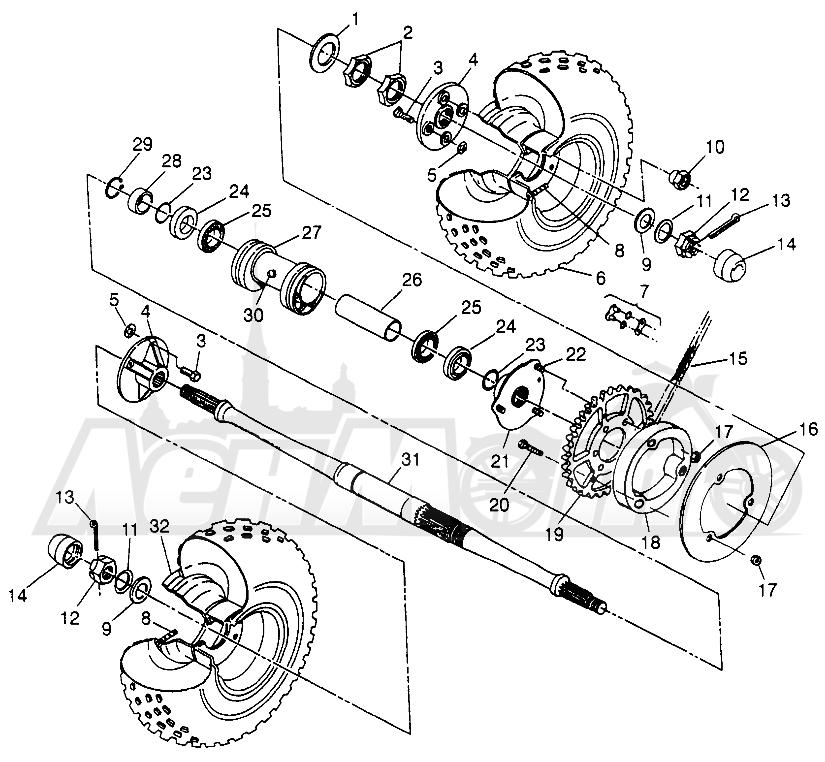 Запчасти для Квадроцикла Polaris 1997 SPORT 400L - W97BA38C Раздел: REAR WHEEL DRIVE SPORT 400L W97BA38C AND TRAIL BLAZER W97BA25C | заднее колесо привод спорт 400L W97BA38C и TRAIL BLAZER W97BA25C