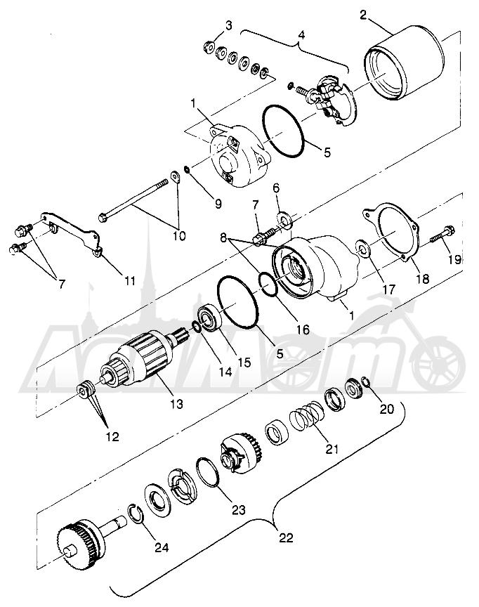 Запчасти для Квадроцикла Polaris 1997 SPORT 400L - W97BA38C Раздел: STARTING MOTOR (SPORT) SPORT 400L W97BA38C | электростартер (спорт) спорт 400L W97BA38C