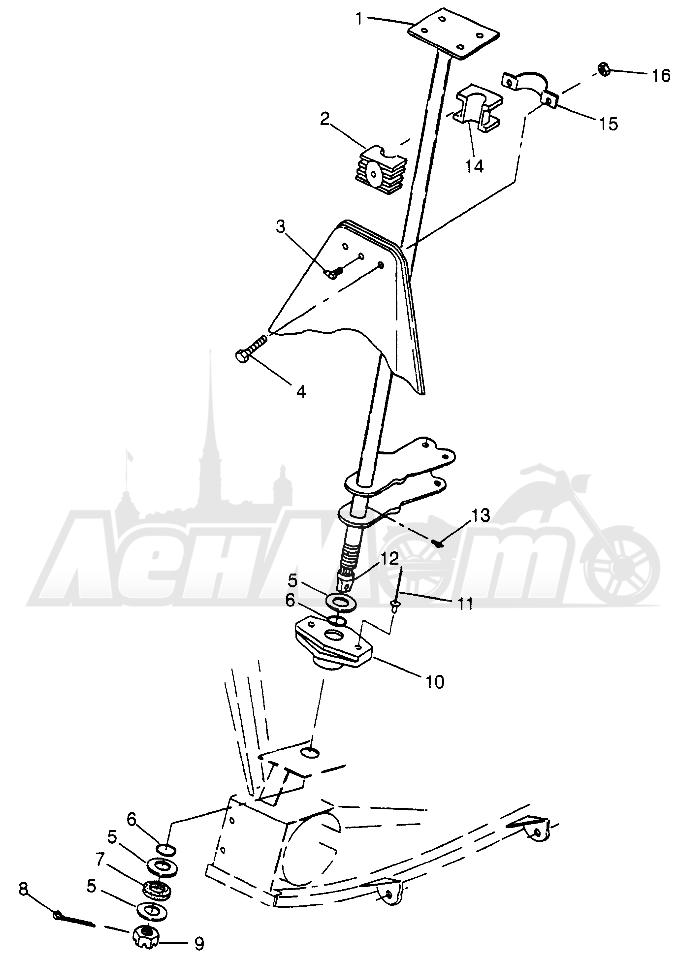 Запчасти для Квадроцикла Polaris 1997 SPORT 400L - W97BA38C Раздел: STEERING POST SPORT 400L W97BA38C AND TRAIL BLAZER W97BA25C | рулевое управление стойка спорт 400L W97BA38C и TRAIL BLAZER W97BA25C
