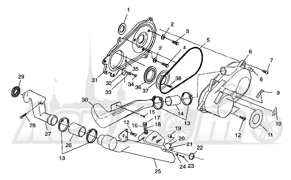 Запчасти для Квадроцикла Polaris 1997 SPORTSMAN 400L - W97AC38C Раздел: CLUTCH COVER SPORTSMAN 400L W97AC38C | сцепление крышка SPORTSMAN 400L W97AC38C