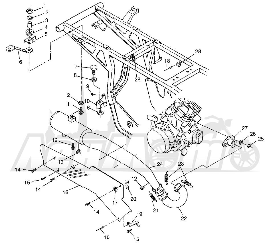 Запчасти для Квадроцикла Polaris 1997 SPORTSMAN 400L - W97AC38C Раздел: EXHAUST SYSTEM SPORTSMAN 400L W97AC38C | выпускная система SPORTSMAN 400L W97AC38C