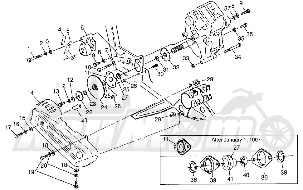 Запчасти для Квадроцикла Polaris 1997 SPORTSMAN 400L - W97AC38C Раздел: GEARCASE/BRAKE AND CHAIN COVER MOUNTING SPORTSMAN 400L W97AC38C | коробка передач/тормоза и цепь крышка крепления SPORTSMAN 400L W97AC38C