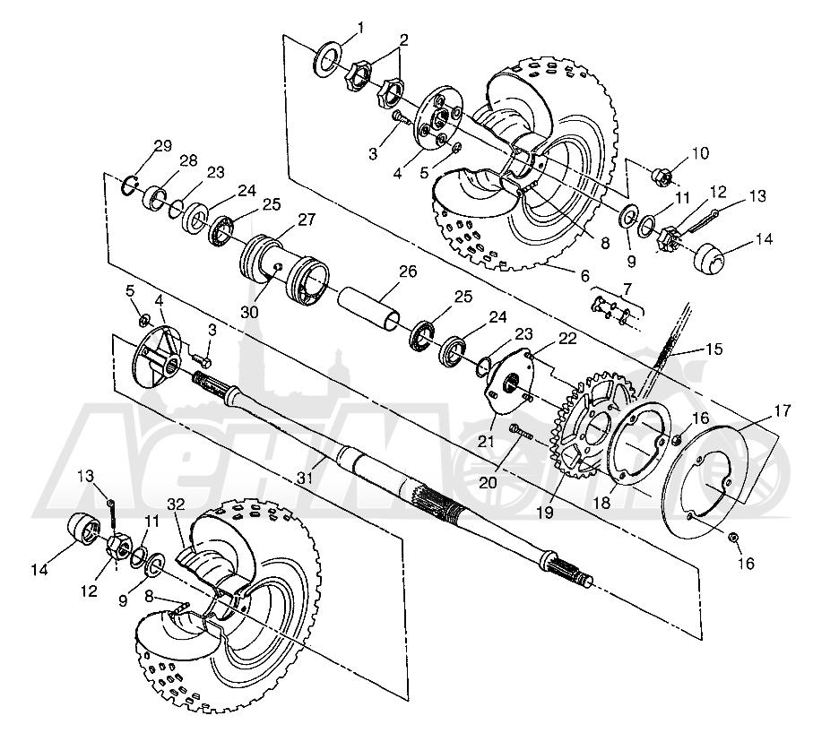Запчасти для Квадроцикла Polaris 1997 SPORTSMAN 400L - W97AC38C Раздел: REAR WHEEL DRIVE SPORTSMAN 400L W97AC38C | заднее колесо привод SPORTSMAN 400L W97AC38C
