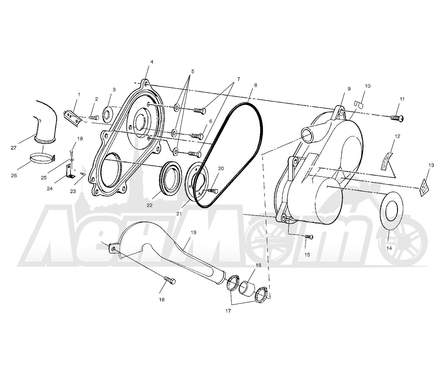 Запчасти для Квадроцикла Polaris 1997 SPORTSMAN 500 - W97CH50A Раздел: CLUTCH COVER - W97CH50A | сцепление крышка W97CH50A