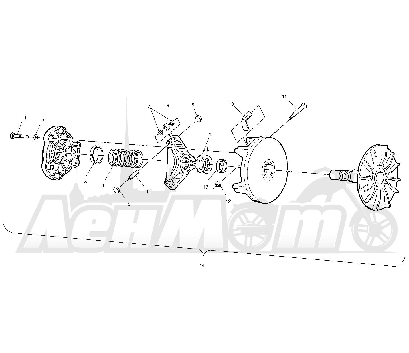Запчасти для Квадроцикла Polaris 1997 SPORTSMAN 500 - W97CH50A Раздел: DRIVE CLUTCH - W97CH50A | ведущий вариатор W97CH50A