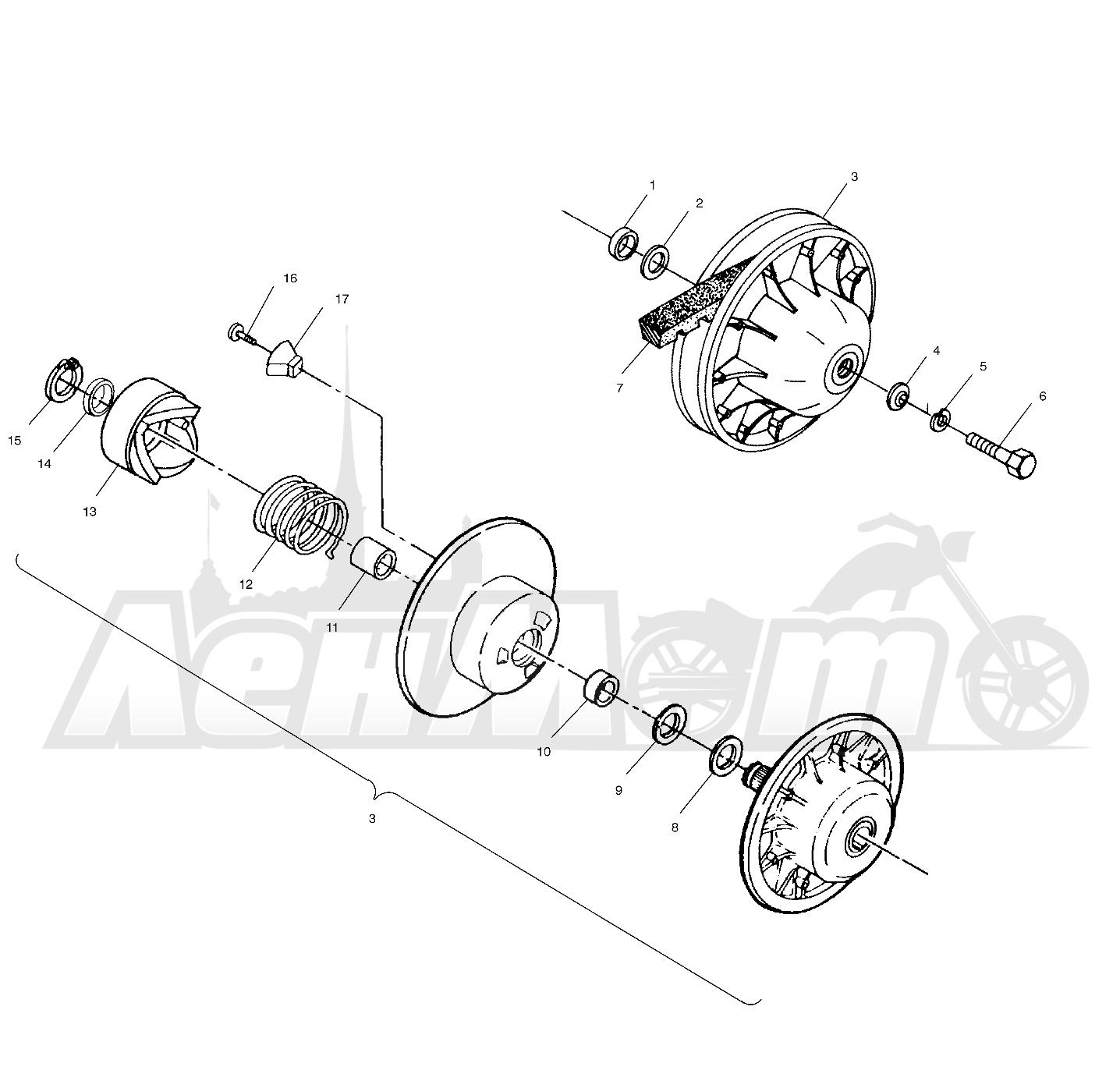 Запчасти для Квадроцикла Polaris 1997 SPORTSMAN 500 - W97CH50A Раздел: DRIVEN CLUTCH - W97CH50A   ведомый вариатор W97CH50A