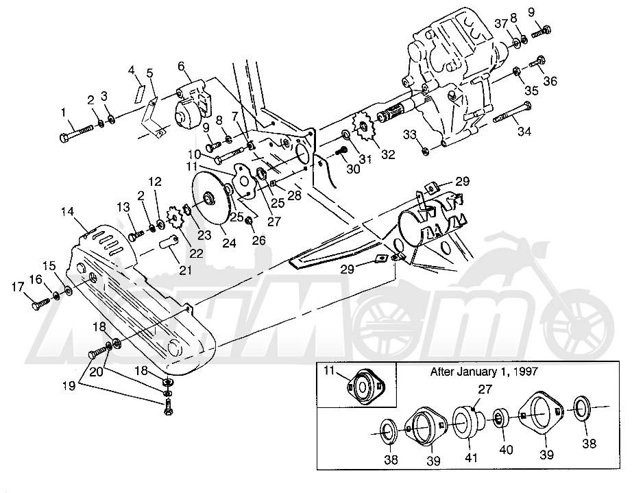 Запчасти для Квадроцикла Polaris 1997 SWEDISH MAGNUM 4X4 - S97AC42E Раздел: GEARCASE/BRAKE AND CHAIN COVER MOUNTING MAGNUM 4X4 W97AC42A, SWEDISH MAGNUM | коробка передач/тормоза и цепь крышка крепления MAGNUM 4X4 W97AC42A, SWEDISH MAGNUM