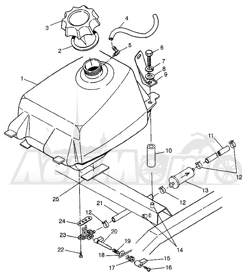 Запчасти для Квадроцикла Polaris 1997 SWEDISH MAGNUM 6X6 - S97AE42E Раздел: FUEL TANK - W97AE42A   топливный бак W97AE42A