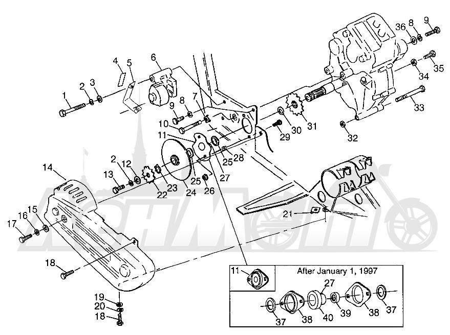 Запчасти для Квадроцикла Polaris 1997 SWEDISH MAGNUM 6X6 - S97AE42E Раздел: GEARCASE/BRAKE AND CHAIN COVER MOUNTING MAGNUM 6X6 W97AE42A AND SWEDISH MAG | коробка передач/тормоза и цепь крышка крепления MAGNUM 6X6 W97AE42A и SWEDISH магнето