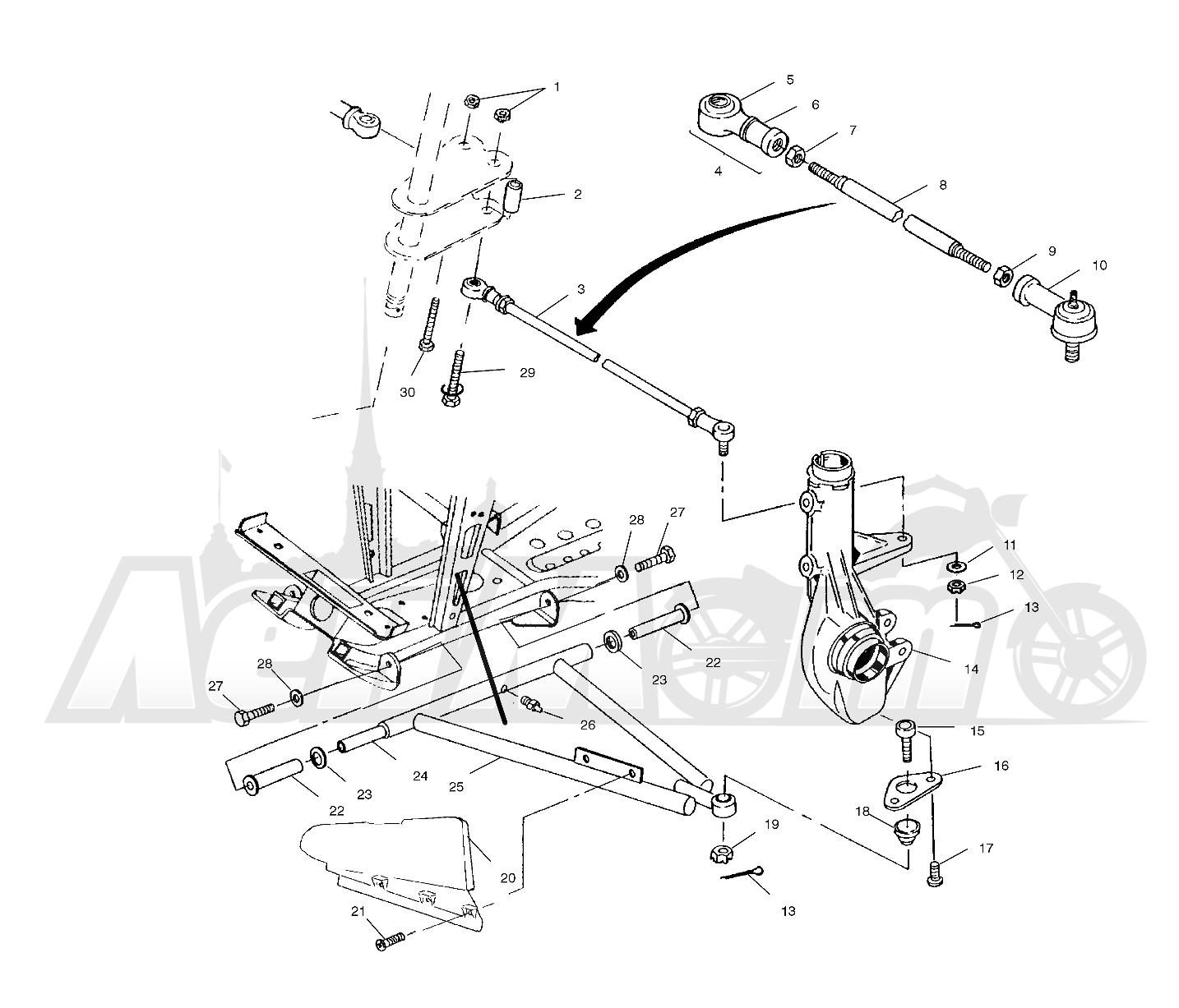 Запчасти для Квадроцикла Polaris 1997 SWEDISH SPORTSMAN 50 - S97CH50E Раздел: A - ARM/STRUT MOUNTING - W97CH50A | A рычаг/стойка крепления W97CH50A